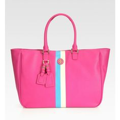 Tory Burch Roslyn Striped Canvas Tote Bag found on Polyvore