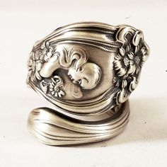 Spoon Ring Rare Art Nouveau He Loves Me Sterling by Spoonier, $95.00