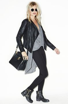 black leather jacket + black booties