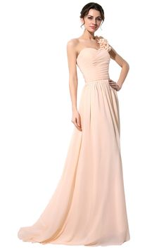 2015 Cheap Long #Bridesmaid #Dress Under 60$ #Blush Red Black Chiffon A-Line Flower One Shoulder Beach Maid of Honor Wear Bridal Party Gowns