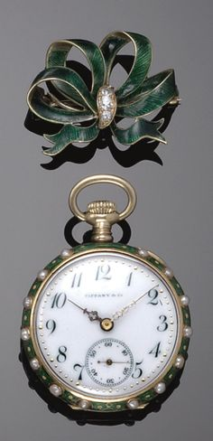 Gold, Enamel, Cultured Pearl & Diamond Watch, Tiffany & Co, 1900s