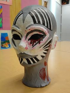 altered styrofoam heads...now here's some scope for the imagination....add a hat, and whatever your heart desires....It was suggested this was fosr gr. 12...but I think junior highs would love it