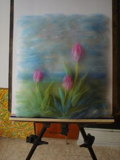 Fibre Art Landscape with Tulips FREE SHIPPING Floral by ZTenEva, $45.00- $55.38 NZD.  This has been 'painted' with wool roving rather than felted.  Has a great textured - more 3D - and looks more ethereal.