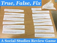 True, false, fix: a middle school approved social studies review game!