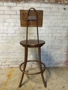 Vintage Industrial Style LYON Bar Counter Stool Metal Red ...