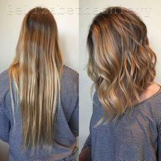 Medium lob with natural caramel blonde highlights