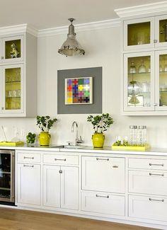 Suzie: James R. Salomon Photography - Jeanne Rapone - Gorgeous white kitchen with yellow ...