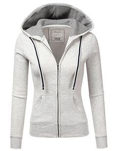 1bd38a9af5a Doublju Lightweight Thin Zip-Up Hoodie Jacket For Women With Plus Size  OATMEAL MEDIUM
