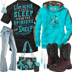 A Lion Never Loses Sleep Over The Opinions Of Sheep Outfit - Real Country Ladies Country Girl Outfits, Country Girl Style, Country Fashion, Country Girls, My Style, Camo Outfits, Cowgirl Outfits, Casual Outfits, Cowgirl Jeans
