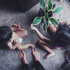 Babies, plants - what could be better?! @nomluna and her adorable little ones.