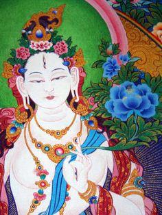 Sacred Art White #Tara Thangka traditionalartofnepal.com
