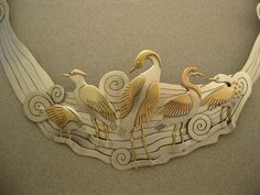 Water Birds detail -  Ahlene Welsh . Sterling silver, 14 and 18K gold