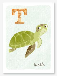 T is for Turtle by SeaUrchinStudio on Etsy, $10.00
