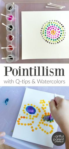 Pointillism Art for Kids with Q-tips and Watercolors – Worth Repeating! Pointillism Art for Kids with Q-tips and Watercolors – Worth Repeating!,Kids Crafts Pointillism art with Q-tips is one of our standby, super-easy-yet-interesting activities. Arte Elemental, Art Activities For Kids, Art Projects For Kindergarteners, Babysitting Activities, Family Activities, Outside Kid Activities, Activities For The Elderly, Art For Preschoolers, Activities For Kindergarten Children