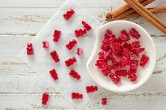 Skip the artificial flavors, colors, and waxes that fill your typical gummy bear treats and make these natural Cinnamon Gummy Bears instead. They call for Vital Proteins Beef Gelatin. Cinnamon Bears, Cinnamon Oil, Cinnamon Essential Oil, Beef Gelatin, Gelatin Recipes, Vital Proteins Collagen, Red Food Coloring, Glass Baking Dish, Paleo Dessert