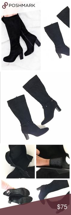 •trendy• Black suede calf boots Inside zip. Not real leather. All man made materials. Tag in picture. Black color size 11 soft to the touch. Wear to the bottoms. Bow Buckle accent around ankle Shoes Heeled Boots