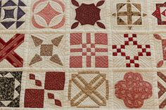 Dear jane quilt, hand quilted via the  Bunny Hill Designs blog... beautiful!
