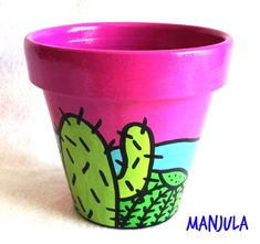 Macetas Cactus - Macetas - Casa - 132445 Clay Pot Projects, Clay Pot Crafts, Rock Crafts, Diy And Crafts, Arts And Crafts, Painted Clay Pots, Painted Flower Pots, Flower Pot Art, Cactus Art