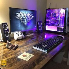 60 Best Setup of Video Game Room Ideas [A Gamer's Guide] Gaming Computer Setup, Simple Computer Desk, Best Gaming Setup, Gaming Room Setup, Gaming Rooms, Gamer Setup, Setup Desk, Home Office Setup, Pc Setup