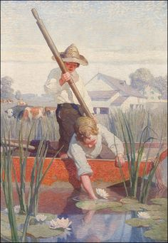 """Such a sweet picture - """"Two Boys in a Punt"""" by N.C. Wyeth"""