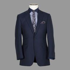 Navy Herringbone Suit
