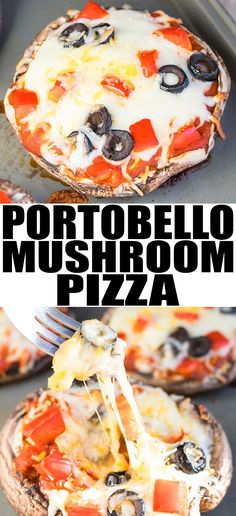 Quick and easy PORTOBELLO MUSHROOM PIZZA, ready in 20 minutes. It's a vegan, gluten free, low carb and healthy dinner alternative to regular pizza. From cakewhiz.com #pizza #lowcarb #lowcarbdiet #dinner #dinnerrecipes
