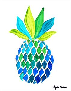 "Pineapple #1 Original Painting by Alyssa Reuven, 11"" x 14"""