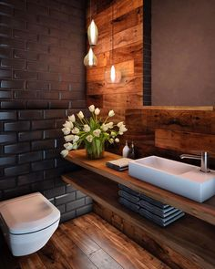60 stunning small bathroom makeover ideas 70 ~ Design And Decoration Interior Design Studio, Bathroom Interior Design, Bathroom Styling, Interior Design Inspiration, Design Ideas, Washroom Design, Big Design, Modern Bathroom Design, Wood Design