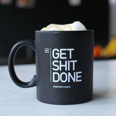 Appealing to the coffee lover - start off your day with your favorite blend of coffee and an extra dose of motivation with the Get Shit Done Mug. Matte black ceramic mug. 11-oz, inspiring, microwave safe, geek-proof. Please allow 1-2 weeks for US delivery, 2-3 weeks for international delivery.