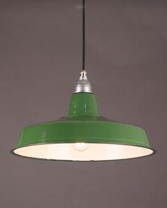 Industrial Green Enamel Pendant Light