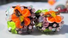 Tropical Days Handmade Lampwork Floral Bead Set SRA by TLBeads, $16.00