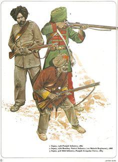 1:Sepoy,15th Punjub Infantry,1860.2:Sepoy,27th Bombay Native Infantry (1st Baluch Regiment),1865.3:Sepoy,3rd Sikh Infantry,Pujab Irregular Force,1863.