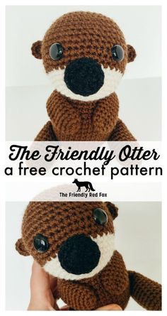 This free crochet otter pattern makes a sweet little toy softie. This amigurumi . - This free crochet otter pattern makes a sweet little toy softie. This amigurumi otter makes a great - Crochet Animal Patterns, Stuffed Animal Patterns, Crochet Patterns Amigurumi, Crochet Dolls, Knitting Patterns, Free Knitting, Crochet Stuffed Animals, Easy Crochet Animals, Blanket Patterns