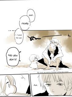 "Page 3 of 11 of a doujinshi ""Don't Go!"" featuring Arthur with little Alfred and Matthew. Original Japanese by ゆの on Pixiv (http://www.pixiv.net/member_illust.php?mode=mediumillust_id=11688974), translated into English by Hitsu"