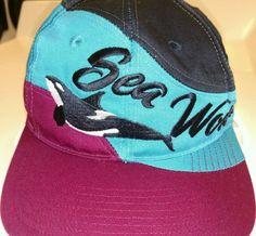 Vintage Sea World SHAMU Whale Hat Tri Tone Fits Most Youth Baseball Cap Snapback