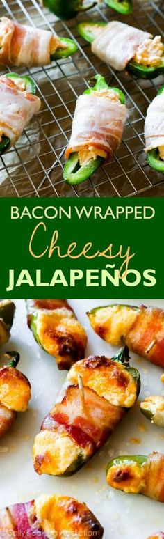 ** made these and NO heat. Great flavor though! If you like spicy, you will love these! Halved jalapeños stuffed with cream cheese, shredded cheese, paprika, and garlic and wrapped up with crispy bacon. Yummy Appetizers, Appetizers For Party, Appetizer Recipes, Keto Recipes, Cooking Recipes, Snack Recipes, Jalapeno Poppers, Sallys Baking Addiction, Cheddar