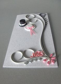 cute quilled wedding card