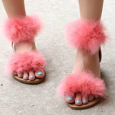 Ankle Strap Fur Flat Sandals
