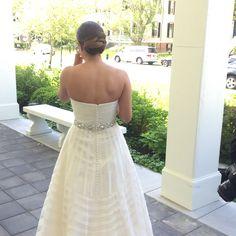 Low wrap bun.  Beautiful bride at a Cape May wedding!  #eabdesigns #updo #bride