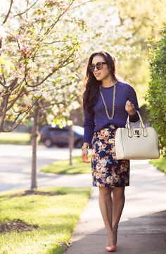 cute & little blog | petite fashion | banana republic metallic pullover blue sweater, navy floral pencil skirt, peach pumps, white bag, debutante necklace | spring work outfit #itsbanana #sponsored