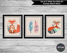 Set of 3 Woodland Animal Foxes & Feathers - Nursery Room Decor - Kids Room Decor. Ship worldwide. www.lollipoppartysupplies.com.au