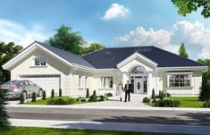 A może zbudujemy dom…? House Outside Design, House Front Design, Modern House Design, Modern Bungalow Exterior, Modern Bungalow House, Small Bungalow, House Design Pictures, Beautiful House Plans, Kerala House Design
