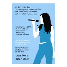 KARAOKE Singing Party Girls Night Out Birthday Custom Announcements Bachelorette Invitations