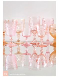 to colored glassware. Cheers to colored glassware. Via Casa de Perrin / sfgirlbybayCheers to colored glassware. Via Casa de Perrin / sfgirlbybay Layout Design, Color Inspiration, Wedding Inspiration, Rosa Rose, Pink Depression Glass, Everything Pink, Vintage Love, Vintage Pink, Vintage Glassware