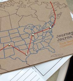 "The Journey Journal - United States in Gifts by Cracked Designs on Scoutmob Shoppe. A travel journal with a string to map out your journey, a page to remember ""after thoughts"", and a compartment to store little treasures. Travel Maps, Bookbinding, Journal Cards, United States, Journey, Poster, Graphic Design, Crafty, Cool Stuff"
