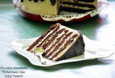 Chocolate Strawberry Buttercream Cake Romanian Desserts, Romanian Food, Romanian Recipes, Strawberry Buttercream, Buttercream Cake, Tiramisu, Yummy Food, Sweets, Ethnic Recipes