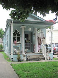 Pale Blue Antique Shop #window #porch #cottage