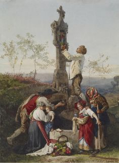 Gustave Brion - Peasants Decorating Wayside Shrine
