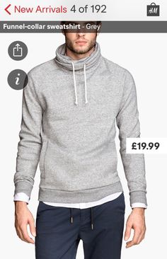 Funnel collar jumper.  Grey.  Hoodie.  Combo with black jacket and jeans and brown distressed belt. @lcollens