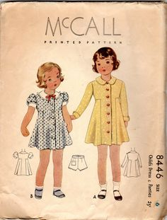 "années 1930 filles robe & culottes motif - taille 6, poitrine 24""- McCall 8446"